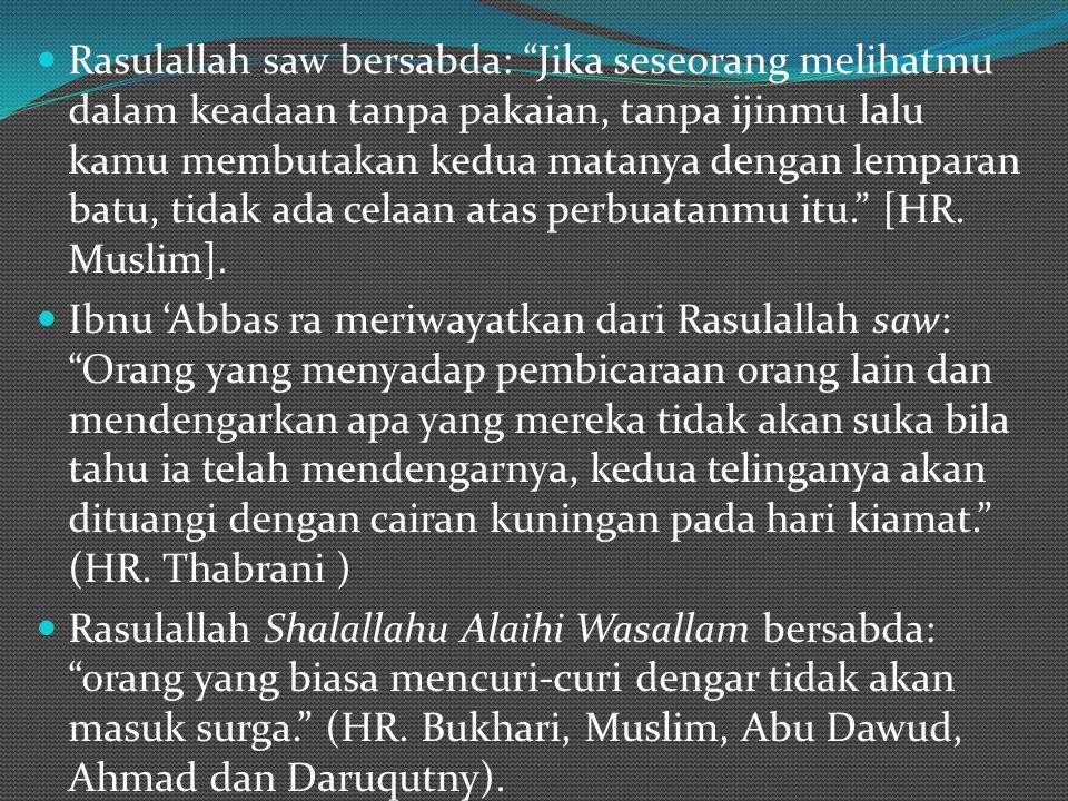 "Rasulallah saw bersabda: ""Jika seseorang melihatmu dalam keadaan tanpa pakaian, tanpa ijinmu lalu kamu membutakan kedua matanya dengan lemparan batu,"