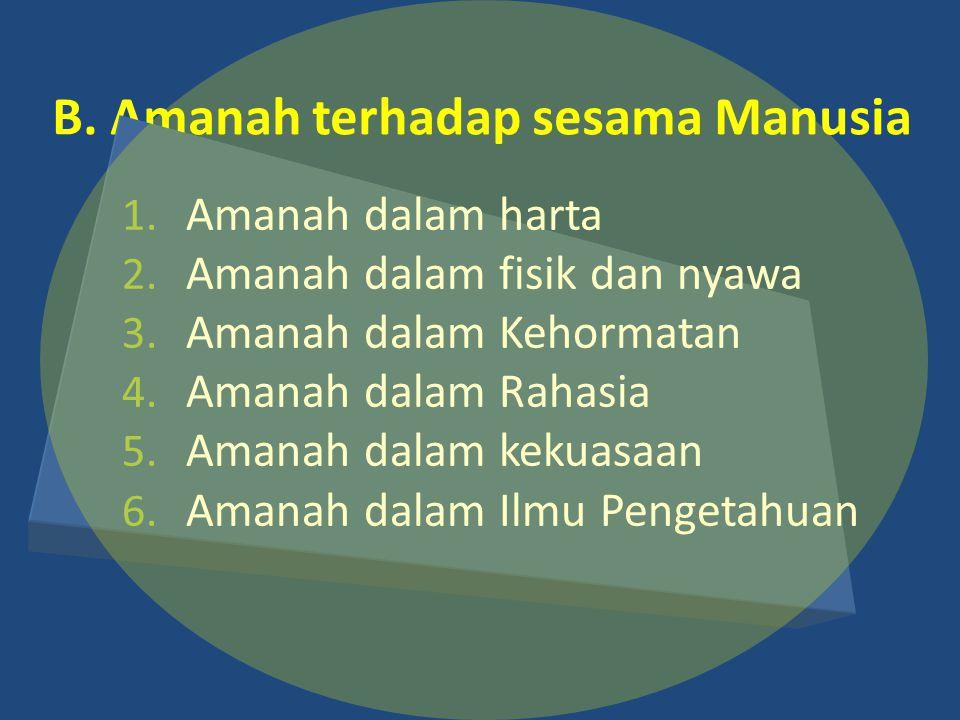 B.Amanah terhadap sesama Manusia 1. Amanah dalam harta 2.