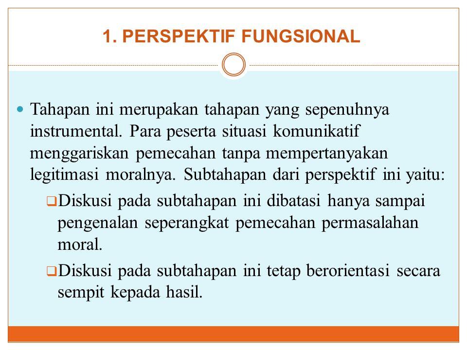 1. PERSPEKTIF FUNGSIONAL Tahapan ini merupakan tahapan yang sepenuhnya instrumental. Para peserta situasi komunikatif menggariskan pemecahan tanpa mem