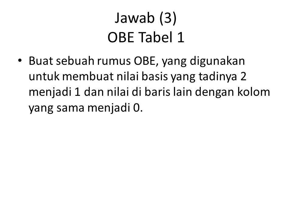Jawab (3) OBE Tabel 1 Buat sebuah rumus OBE, yang digunakan untuk membuat nilai basis yang tadinya 2 menjadi 1 dan nilai di baris lain dengan kolom ya