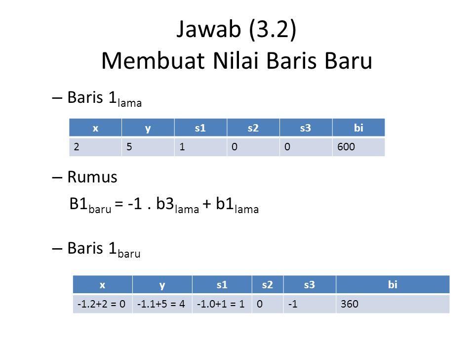 Jawab (3.2) Membuat Nilai Baris Baru – Baris 1 lama – Rumus B1 baru = -1. b3 lama + b1 lama – Baris 1 baru xys1s2s3bi 25100600 xys1s2s3bi -1.2+2 = 0-1