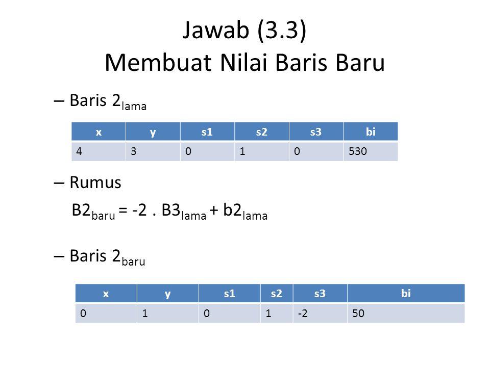 Jawab (3.3) Membuat Nilai Baris Baru – Baris 2 lama – Rumus B2 baru = -2. B3 lama + b2 lama – Baris 2 baru xys1s2s3bi 43010530 xys1s2s3bi 0101-250