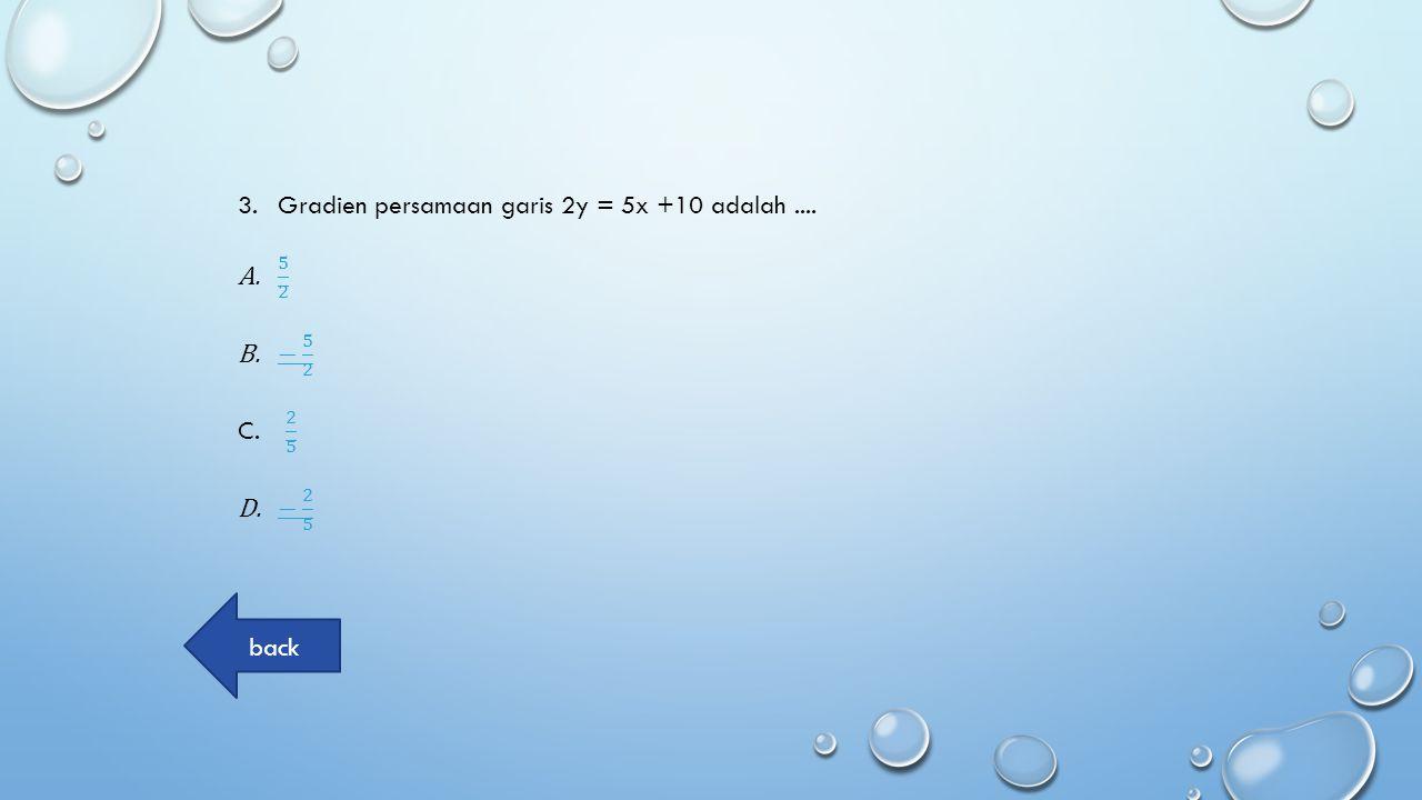 4.Gradien garis yang melalui titik (-4,3) dan (-5,2) adalah.... A.11 B.-1 C.22 D.-2-2 back