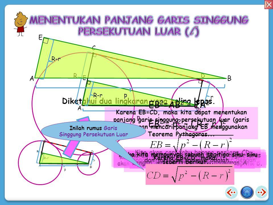 A B C D k E F l Dua lingkaran tersebut saling lepas atau terpisah.