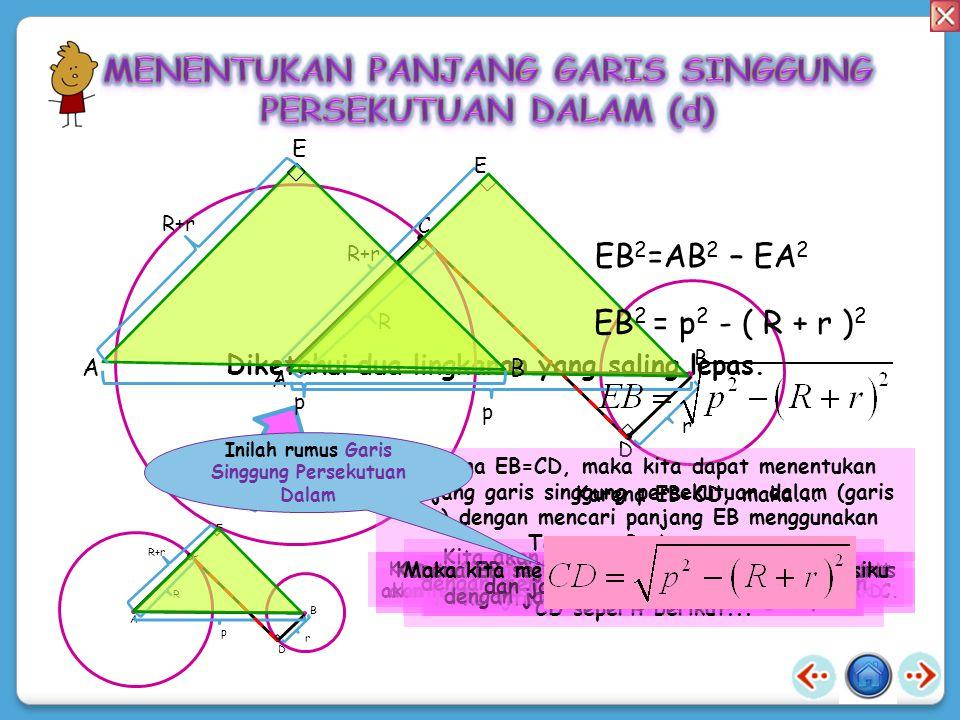 TT Panjang garis singgung persekutuan luar dua lingkaran 24 cm. Jika panjang jari-jari dua lingkaran tersebut masing-masing 15 cm dan 5 cm, hitunglah