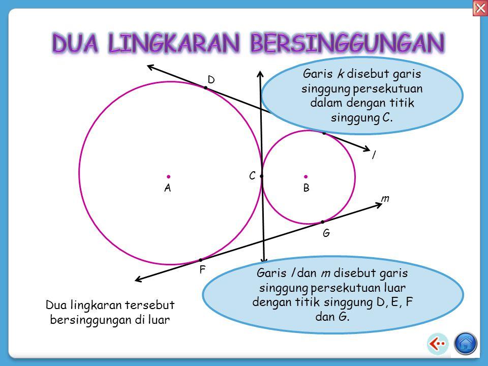 Dua lingkaran tersebut bersinggungan di dalam. A B C k Garis k disebut garis singgung persekutuan luar dengan titik singgung C.