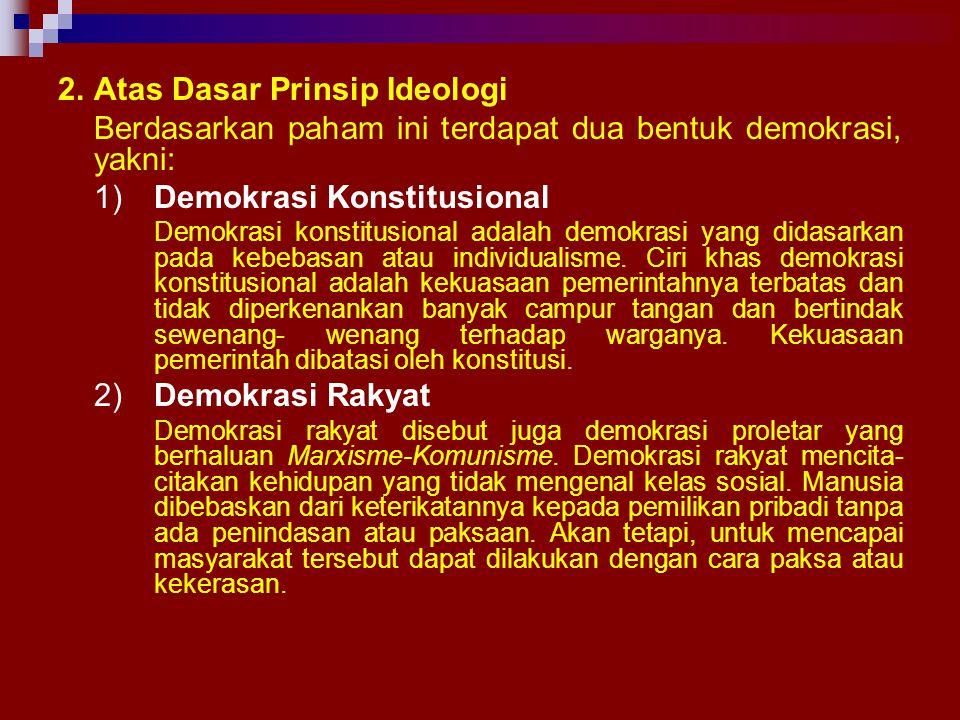 MACAM–MACAM DEMOKRASI 1.Atas Dasar Penyaluran Kehendak Rakyat Menurut cara penyaluran kehendak rakyat demokrasi dibedakan atas: a)Demokrasi Langsung D