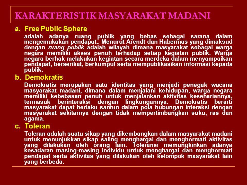 Masyarakat madani adalah sebuah kelompok atau tatanan masyarakat yang berdiri secara mandiri di hadapan penguasa dan negara, memiliki ruang publik dal