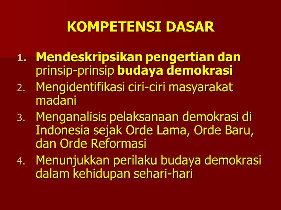 KOMPETENSI DASAR 1.Mendeskripsikan pengertian dan prinsip-prinsip budaya demokrasi 2.