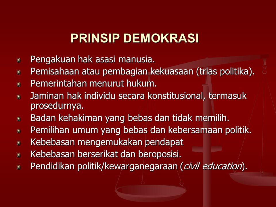3. Franz Magnis-Suseno;kriteria negara demokratis, a.Negara terikat demokratis hukum b.Kontrol efektif terhadap pemerintah oleh rakyat c.Pemilu yang b