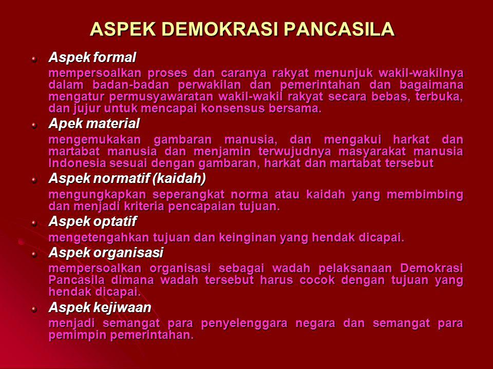 PRINSIP DEMOKRASI PANCASILA Persamaan bagi seluruh rakyat Indonesia. Keseimbangan anatara hak dan kewajiban. Pelaksanaan kebebasan yang bertanggung ja