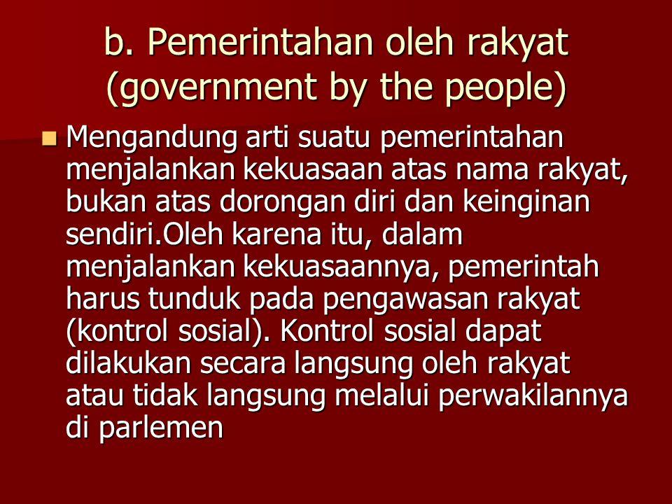 Hakikat demokrasi a. Pemerintahan dari rakyat (government of the people, mengandung arti pemerintahan sah dan diakui (legitimate government) di mata r