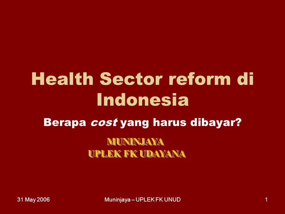 31 May 2006Muninjaya – UPLEK FK UNUD1 Health Sector reform di Indonesia Berapa cost yang harus dibayar?