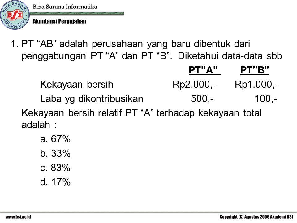"""1. PT """"AB"""" adalah perusahaan yang baru dibentuk dari penggabungan PT """"A"""" dan PT """"B"""". Diketahui data-data sbb PT""""A"""" PT""""B"""" Kekayaan bersih Rp2.000,- Rp1"""