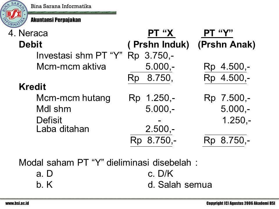 "4. NeracaPT ""X PT ""Y"" Debit ( Prshn Induk) (Prshn Anak) Investasi shm PT ""Y"" Rp 3.750,- Mcm-mcm aktiva 5.000,-Rp 4.500,- Rp 8.750,Rp 4.500,- Kredit Mc"