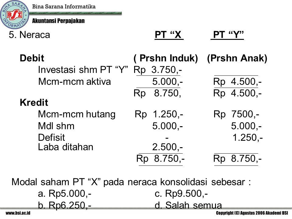 "5. NeracaPT ""X PT ""Y"" Debit ( Prshn Induk) (Prshn Anak) Investasi shm PT ""Y"" Rp 3.750,- Mcm-mcm aktiva 5.000,-Rp 4.500,- Rp 8.750,Rp 4.500,- Kredit Mc"