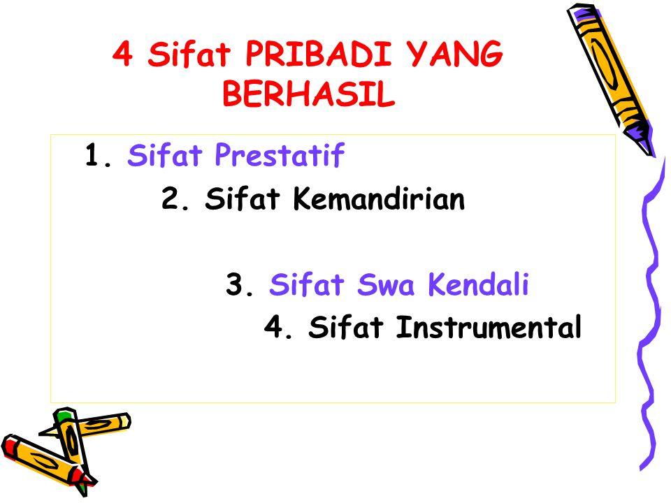 4 Sifat PRIBADI YANG BERHASIL 1. Sifat Prestatif 2. Sifat Kemandirian 3. Sifat Swa Kendali 4. Sifat Instrumental
