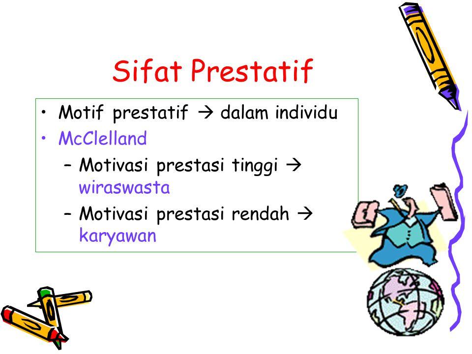Sifat Prestatif Motif prestatif  dalam individu McClelland –Motivasi prestasi tinggi  wiraswasta –Motivasi prestasi rendah  karyawan