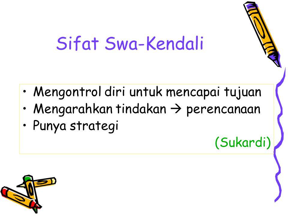 Sifat Swa-Kendali Mengontrol diri untuk mencapai tujuan Mengarahkan tindakan  perencanaan Punya strategi (Sukardi)
