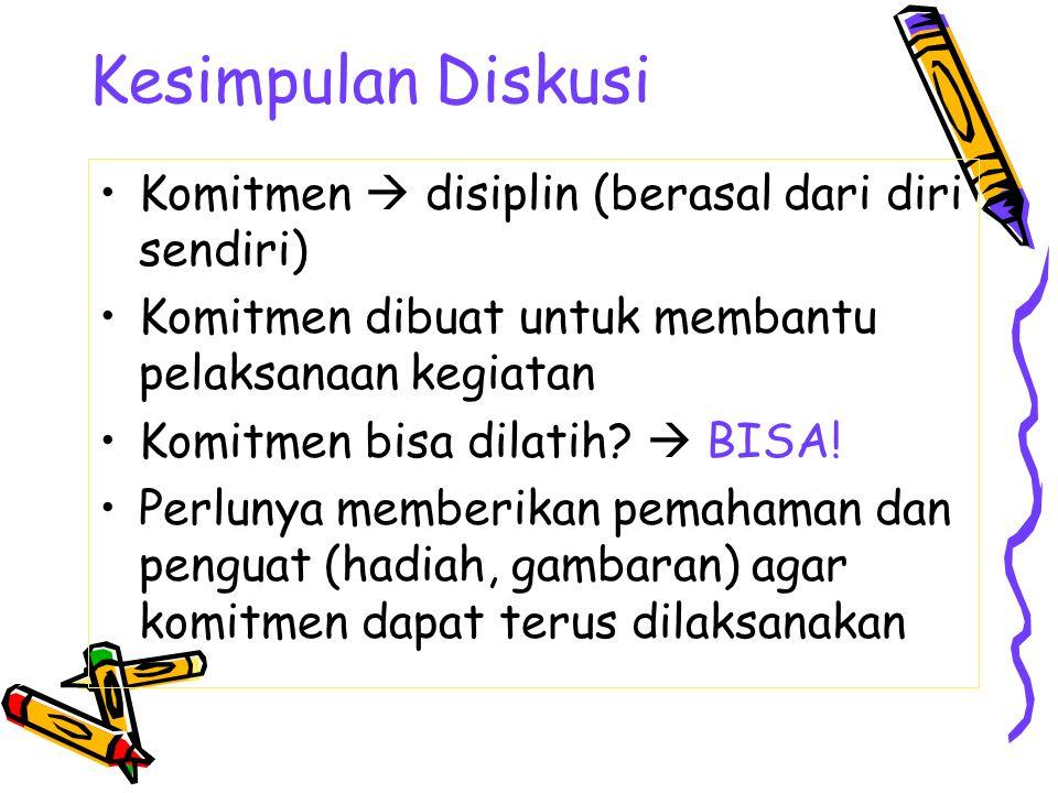 Kesimpulan Diskusi Komitmen  disiplin (berasal dari diri sendiri) Komitmen dibuat untuk membantu pelaksanaan kegiatan Komitmen bisa dilatih?  BISA!