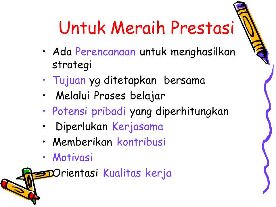 Untuk Meraih Prestasi Ada Perencanaan untuk menghasilkan strategi Tujuan yg ditetapkan bersama Melalui Proses belajar Potensi pribadi yang diperhitung