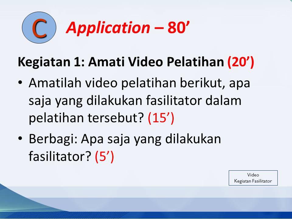 Application – 80' Kegiatan 1: Amati Video Pelatihan (20') Amatilah video pelatihan berikut, apa saja yang dilakukan fasilitator dalam pelatihan terseb