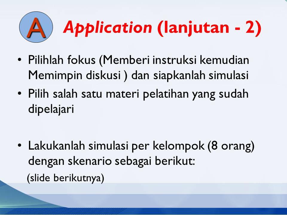 Application (lanjutan - 2) Pilihlah fokus (Memberi instruksi kemudian Memimpin diskusi ) dan siapkanlah simulasi Pilih salah satu materi pelatihan yan