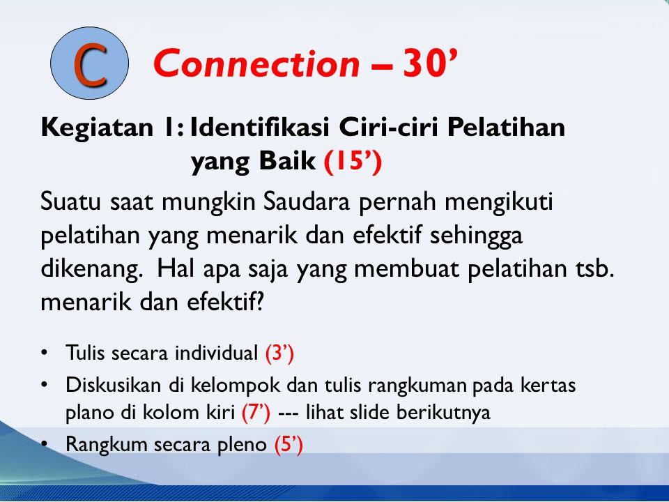 Connection – 30' Kegiatan 1: Identifikasi Ciri-ciri Pelatihan yang Baik (15') Suatu saat mungkin Saudara pernah mengikuti pelatihan yang menarik dan e