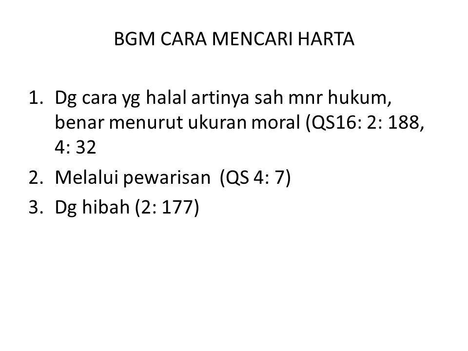 BGM CARA MENCARI HARTA 1.Dg cara yg halal artinya sah mnr hukum, benar menurut ukuran moral (QS16: 2: 188, 4: 32 2.Melalui pewarisan (QS 4: 7) 3.Dg hi