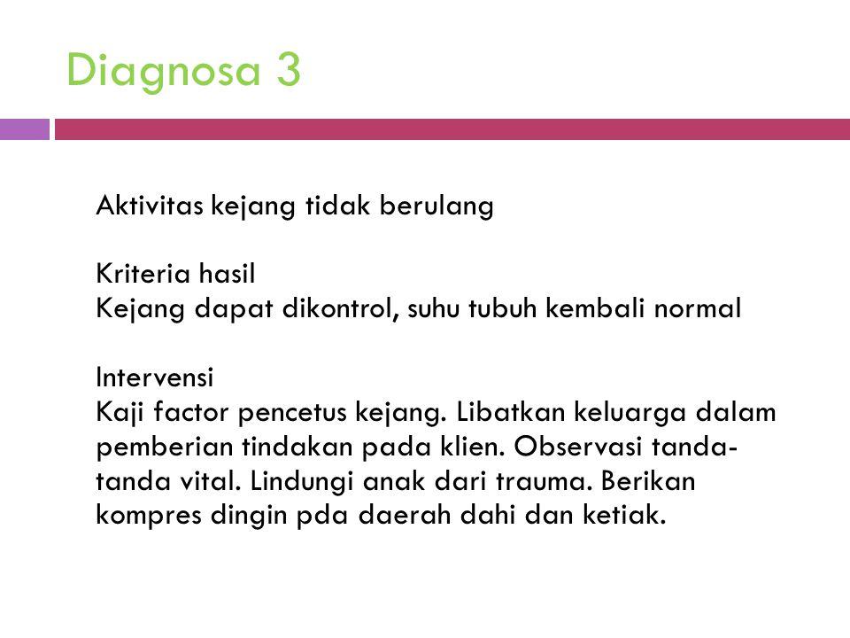 Diagnosa 3 Aktivitas kejang tidak berulang Kriteria hasil Kejang dapat dikontrol, suhu tubuh kembali normal Intervensi Kaji factor pencetus kejang. Li