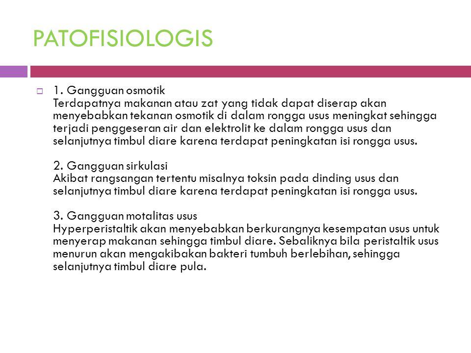 PATOFISIOLOGIS  1. Gangguan osmotik Terdapatnya makanan atau zat yang tidak dapat diserap akan menyebabkan tekanan osmotik di dalam rongga usus menin