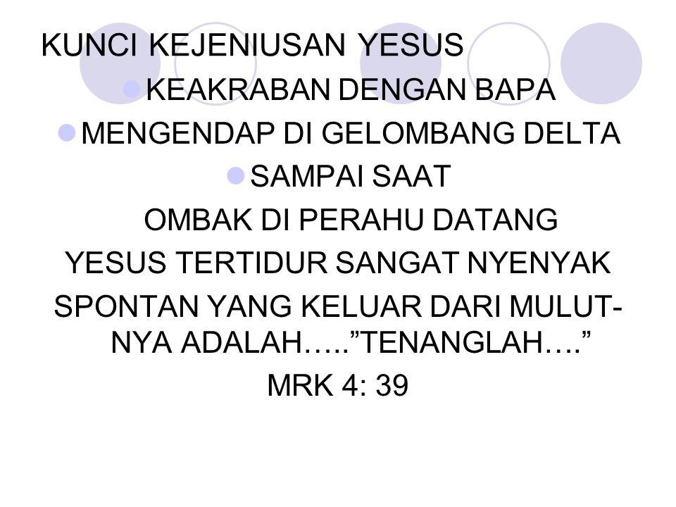 KUNCI KEJENIUSAN YESUS KEAKRABAN DENGAN BAPA MENGENDAP DI GELOMBANG DELTA SAMPAI SAAT OMBAK DI PERAHU DATANG YESUS TERTIDUR SANGAT NYENYAK SPONTAN YAN