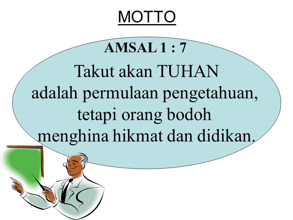 MOTTO Takut akan TUHAN adalah permulaan pengetahuan, tetapi orang bodoh menghina hikmat dan didikan. AMSAL 1 : 7