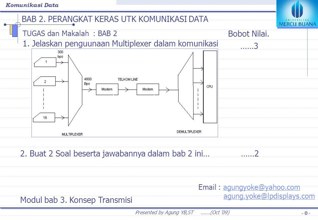 Komunikasi Data Presented by Agung YB,ST …….(Oct '09) - 1 - BAB 3.