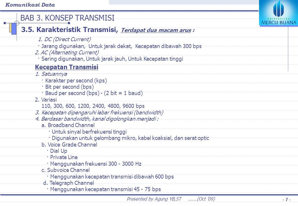 Komunikasi Data Presented by Agung YB,ST …….(Oct '09) - 7 - BAB 3. KONSEP TRANSMISI 3.5. Karakteristik Transmisi, Terdapat dua macam arus : 1. DC (Dir