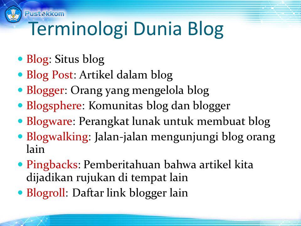 Terminologi Dunia Blog Blog: Situs blog Blog Post: Artikel dalam blog Blogger: Orang yang mengelola blog Blogsphere: Komunitas blog dan blogger Blogwa