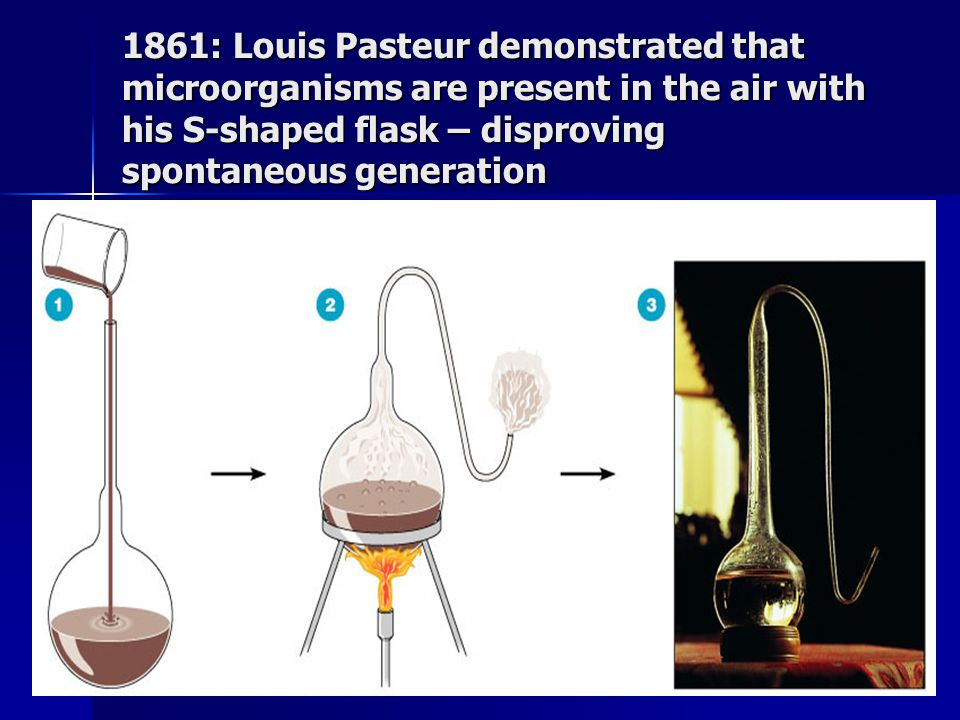 1861: Louis Pasteur demonstrated that microorganisms are present in the air with his S-shaped flask – disproving spontaneous generation