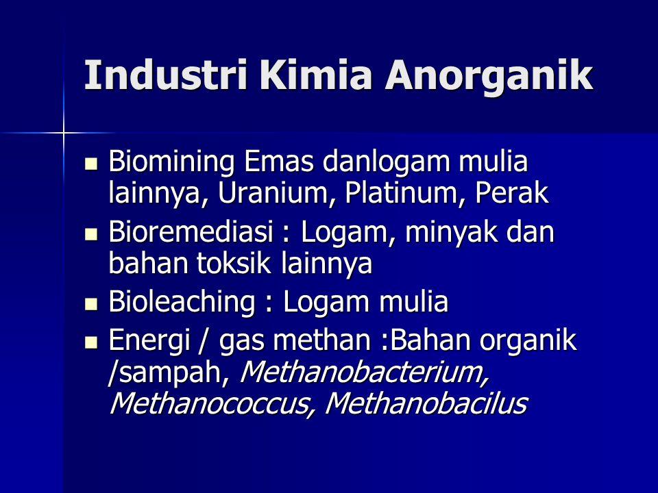 Industri Kimia Anorganik Biomining Emas danlogam mulia lainnya, Uranium, Platinum, Perak Biomining Emas danlogam mulia lainnya, Uranium, Platinum, Perak Bioremediasi : Logam, minyak dan bahan toksik lainnya Bioremediasi : Logam, minyak dan bahan toksik lainnya Bioleaching : Logam mulia Bioleaching : Logam mulia Energi / gas methan :Bahan organik /sampah, Methanobacterium, Methanococcus, Methanobacilus Energi / gas methan :Bahan organik /sampah, Methanobacterium, Methanococcus, Methanobacilus
