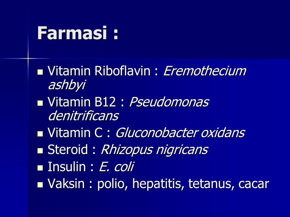 Farmasi : Vitamin Riboflavin : Eremothecium ashbyi Vitamin Riboflavin : Eremothecium ashbyi Vitamin B12 : Pseudomonas denitrificans Vitamin B12 : Pseudomonas denitrificans Vitamin C : Gluconobacter oxidans Vitamin C : Gluconobacter oxidans Steroid : Rhizopus nigricans Steroid : Rhizopus nigricans Insulin : E.