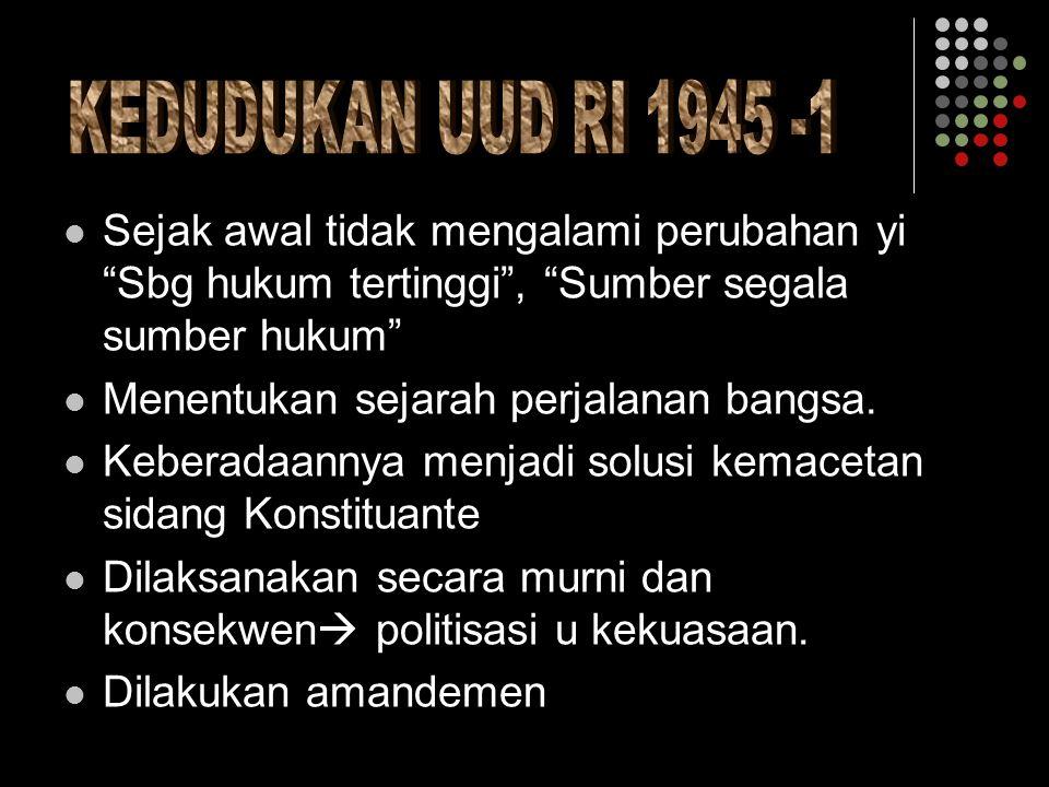  Pemilu untuk memilih angg MPR  Pres.diangkat /diberht.