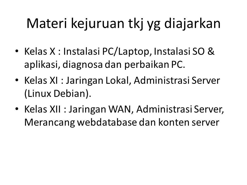 Materi kejuruan tkj yg diajarkan Kelas X : Instalasi PC/Laptop, Instalasi SO & aplikasi, diagnosa dan perbaikan PC. Kelas XI : Jaringan Lokal, Adminis