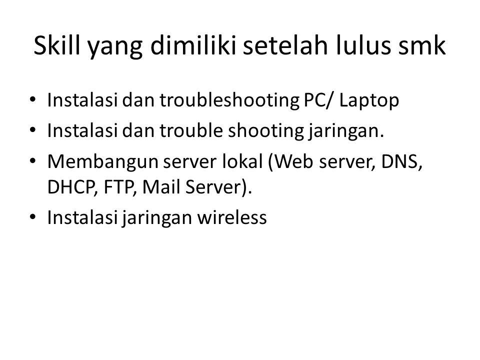Skill yang dimiliki setelah lulus smk Instalasi dan troubleshooting PC/ Laptop Instalasi dan trouble shooting jaringan. Membangun server lokal (Web se
