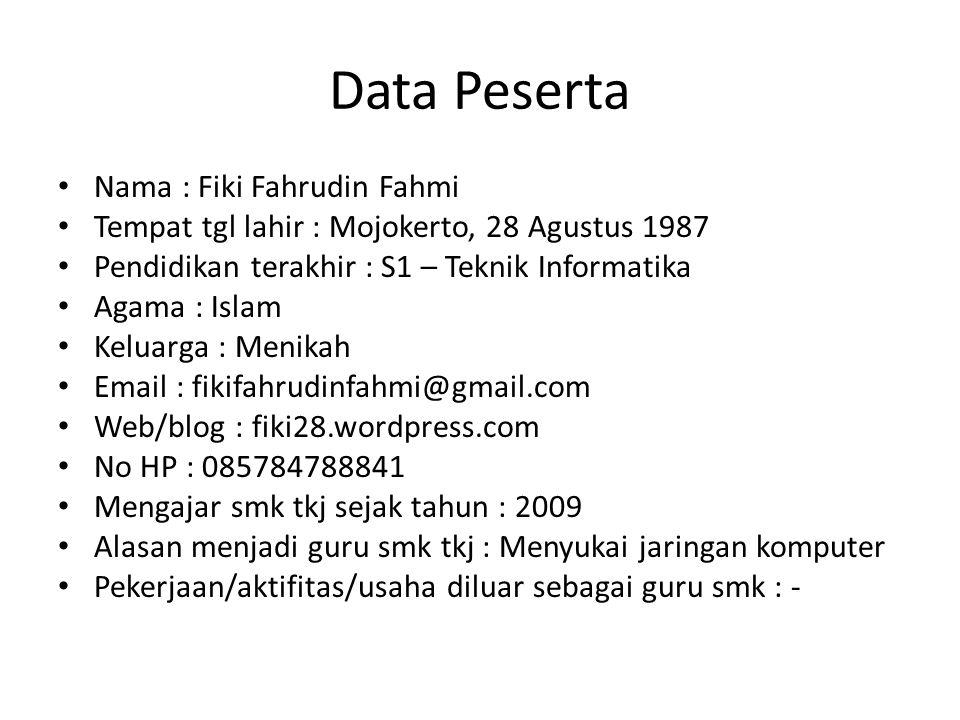 Data Peserta Nama : Fiki Fahrudin Fahmi Tempat tgl lahir : Mojokerto, 28 Agustus 1987 Pendidikan terakhir : S1 – Teknik Informatika Agama : Islam Kelu