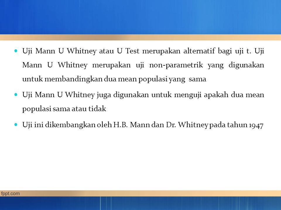 Uji Mann U Whitney biasanya digunakan dalam berbagai bidang, misalkan : Dalam bidang psikologi, digunakan untuk membandingkan sikap dan perilaku, dll.