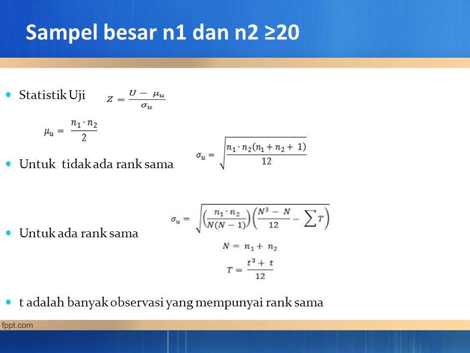Sampel besar n1 dan n2 ≥20 Statistik Uji Untuk tidak ada rank sama Untuk ada rank sama t adalah banyak observasi yang mempunyai rank sama
