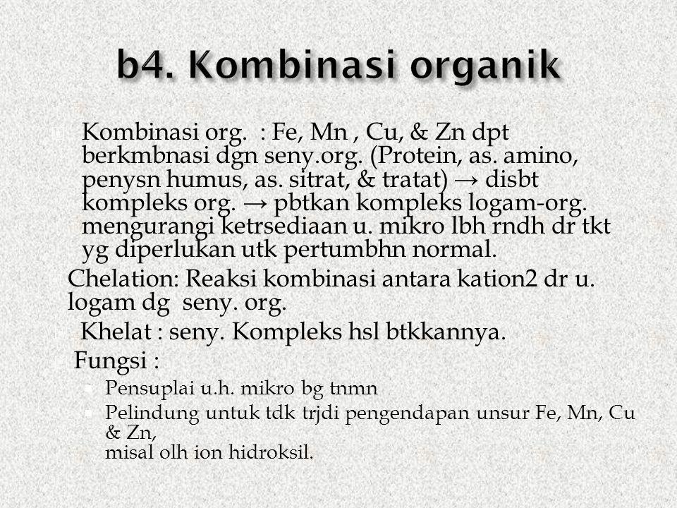  Kombinasi org. : Fe, Mn, Cu, & Zn dpt berkmbnasi dgn seny.org.