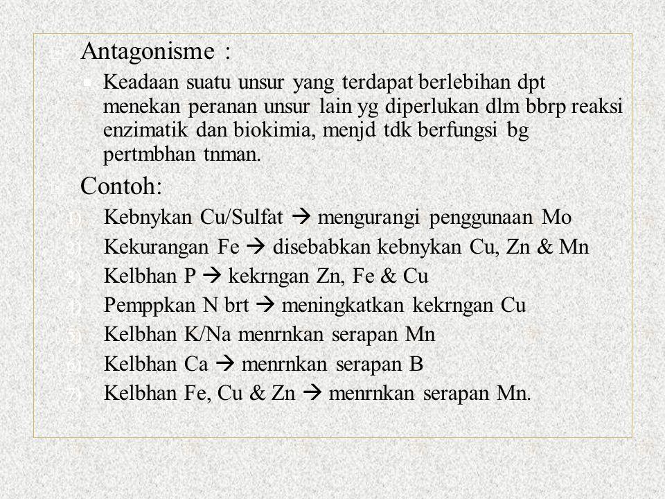  Antagonisme :  Keadaan suatu unsur yang terdapat berlebihan dpt menekan peranan unsur lain yg diperlukan dlm bbrp reaksi enzimatik dan biokimia, menjd tdk berfungsi bg pertmbhan tnman.