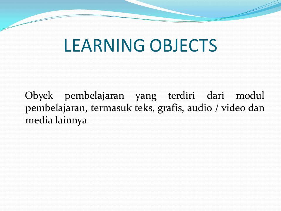LEARNING OBJECTS Obyek pembelajaran yang terdiri dari modul pembelajaran, termasuk teks, grafis, audio / video dan media lainnya