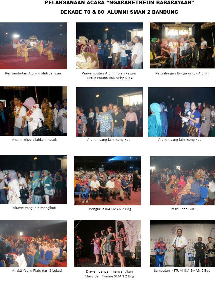 """Penyambutan Alumni oleh Lengser PELAKSANAAN ACARA """"NGARAKETKEUN BABARAYAAN"""" DEKADE 70 & 80 ALUMNI SMAN 2 BANDUNG Pengalungan Bunga untuk AlumniPenyamb"""