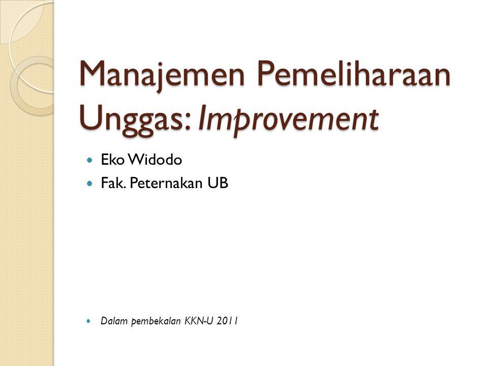 Manajemen Pemeliharaan Unggas: Improvement Eko Widodo Fak. Peternakan UB Dalam pembekalan KKN-U 2011
